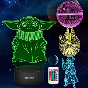 3D Illusion Star Wars Night Light Gift,4 Pattern Star Wars Toys LED Night Lamp for Room Decor,Great Christmas Birthday Gifts for Kids/Mens/Womens/Star Wars Fans