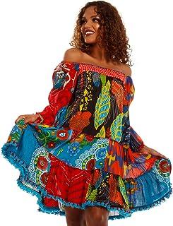 c53282533107b6 YC Fashion & Style Damen Hippie Tunika Boho Minikleid mit Patchwork Made in  India stylisches Strand