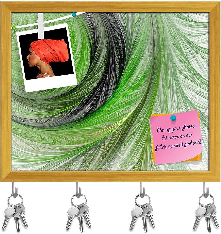 Artzfolio Abstract Artwork D226 Key Holder Hooks   Notice Pin Board   golden Frame 19.8 X 16Inch