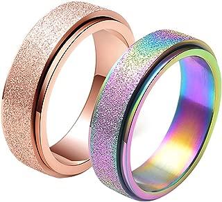 LANHI Unisex's 6mm Stainless Steel Spinner Ring Matte Sand Blast Finish