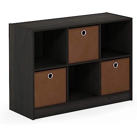 Furinno 99940 Ex Br 3x2 Bookcase Storage With Bins Espresso Brown Furniture Decor