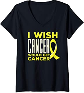 Womens Childhood Cancer Awareness Wish T-Shirt with Gold Ribbon V-Neck T-Shirt