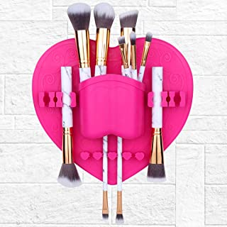 TailaiMei Silicone Cosmetic Organizer - Makeup Brush Storage Container for Air Drying. Use as Brush Holder Tree Tower. Easy Mount to Mirror, Wall, Dresser or Tile (Pink)