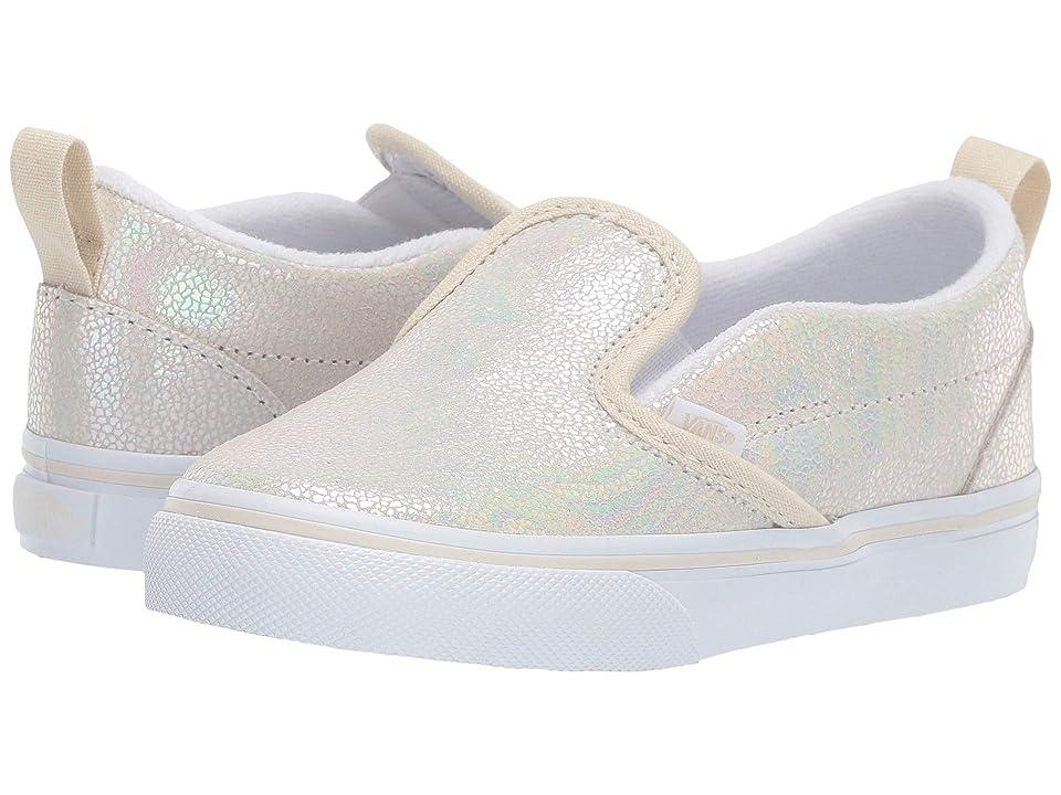 Vans Kids Slip-On V (Toddler) ((Metallic Oil Slick) True White/Turtledove) Girls Shoes