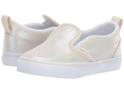 Vans Kids Slip-On V (Toddler) ((Metallic Oil Slick) True White/Turtledove) Girls Shoes