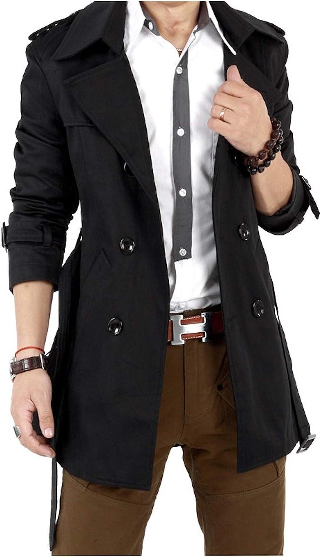 Elonglin Mens Trench Coat Jacket Belted Cotton Casual Lapel Windbreaker Overcoat