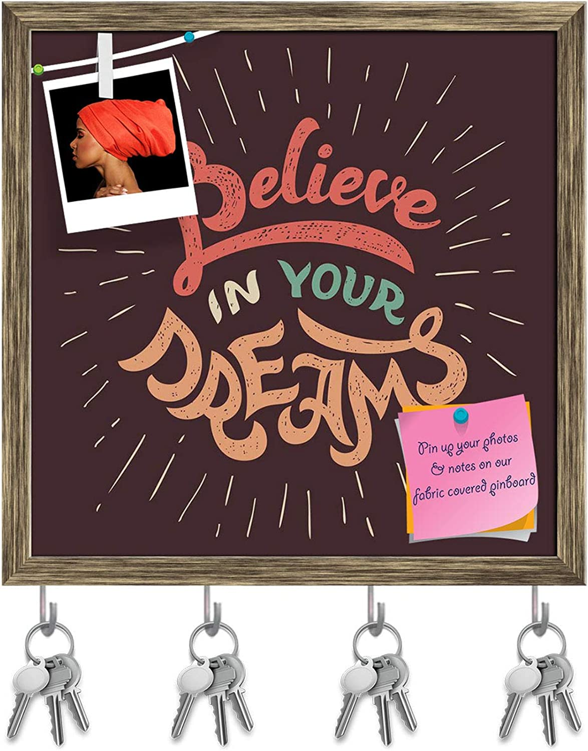 Artzfolio Believe in Your Dreams Key Holder Hooks   Notice Pin Board   Antique golden Frame 20 X 20Inch
