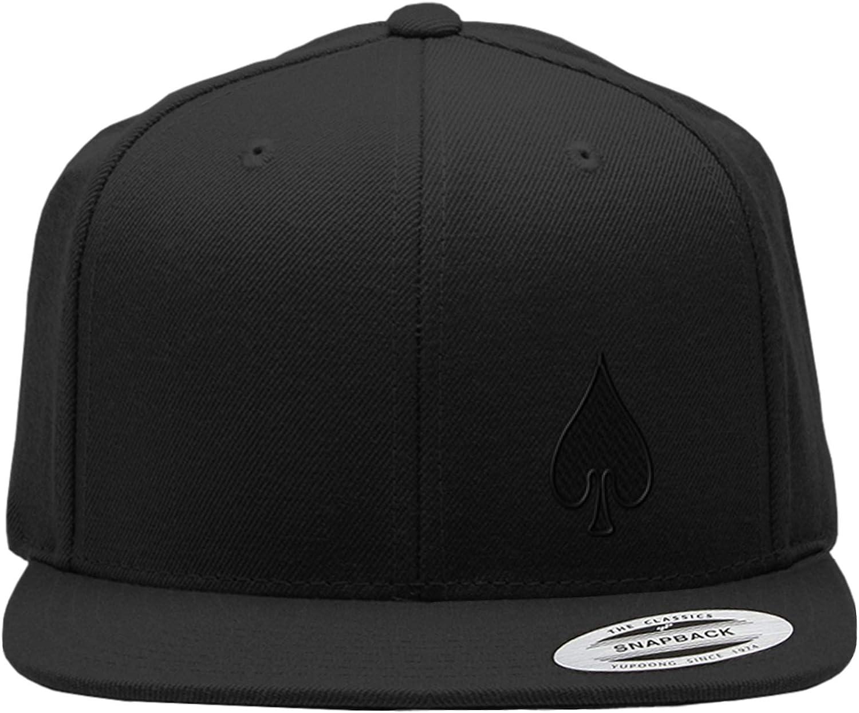 Snapback Flat Bill Left Side Panel Spade Embroidery Hats for Men & Women Acrylic