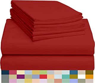 """LuxClub 6 PC Sheet Set Bamboo Sheets Deep Pockets 18"""" Eco Friendly Wrinkle Free Sheets Hypoallergenic Anti-Bacteria Machine Washable Hotel Bedding Silky Soft - Red Full"""