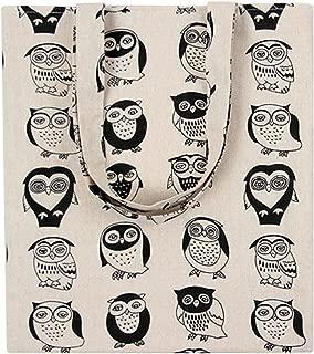 Chezi Women's Tribal Owl Print Cotton Reusable Foldable Canvas Tote Shopping Bag