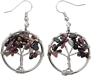 YACQ Natural Gemstone Tree Dangle Drop Earrings Handcrafted Jewelry for Women