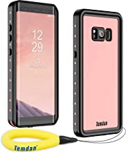 Temdan Samsung Galaxy S8 Waterproof Case Supported Wireless Charging Full-Body Protection Built in Screen Protector with Floating Strap Waterproof Case for Galaxy S8 (Pink)