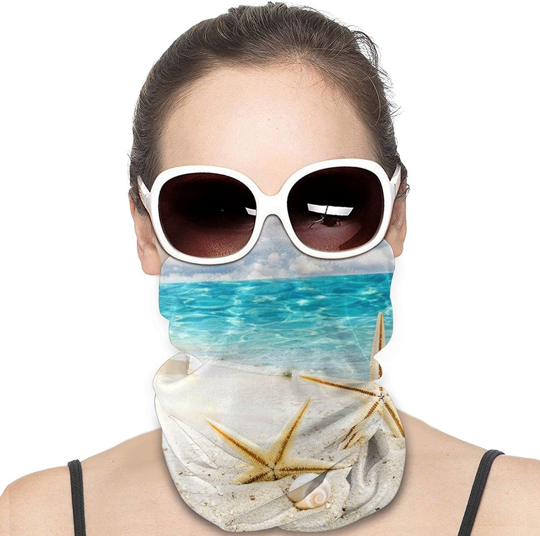 Beach with Starfish and Seashells Neck Gaiter Windproof Face Cover Balaclava Outdoors Magic Scarf Headband for Men Women Motorcycling Fishing Running Climbing