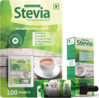 Bliss of Earth Combo of 99.8% REB-A Purity Stevia Tablets & Liquid, Natural & Sugar free, Zero Calorie Keto Sweetener, 200...