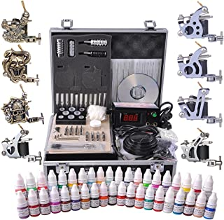 AW Professional Complete Tattoo Kit 8 Machine Gun 40 Ink Power Supply Grip Tip Foot Switch Equipment Set with Case