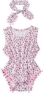 Newborn Toddler Baby Girl Tassel Romper Bodysuit Floral Sleeveless Jumpsuit Outfit Set Match Headband