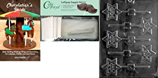Cybrtrayd Torah Crown Lolly Chocolate Candy Mold with Chocolatier's Bundle, Includes 25 Sticks, 25 Cello Bags, 25 Silver Twist Ties and Chocolatier's Guide