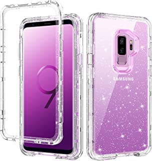 GUAGUA Samsung Galaxy S9 Plus Case Clear Glitter Bling Crystal Shiny Sparkly Cover for Girls Women 3 in 1 Hybrid Hard PC TPU Shockproof Protective Phone Case for Samsung Galaxy S9 Plus Transparent