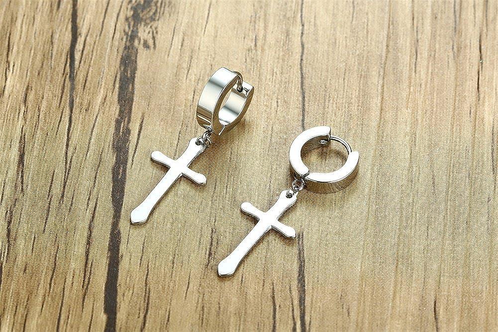 XUANPAI Stainless Cool Clip Earrings Piercing Stainless Steel Ankh Cross Charm Hoop Dangle Hinged Stud Earrings for Men Women Teen Gilrs Boys