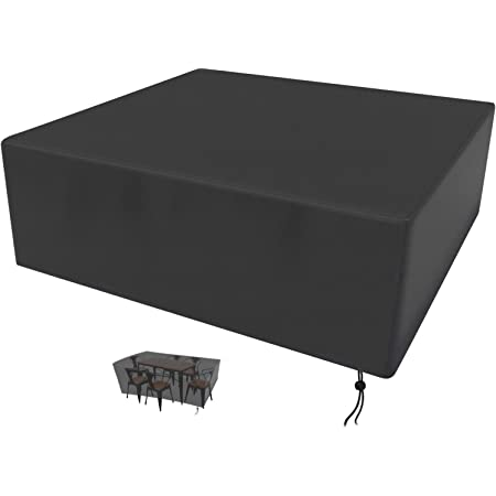 Iptienda Waterproof Patio Furniture Cover Square Patio//Outdoor Rectangular Dining Table Chairs Sofa Set Cover Fits for 4 to 6 Seats Heavy Duty Durable Extra Large Patio//Outdoor Table Cover