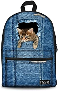 Student Casual Backpack Cute Cat Dog School Bag for Teenager Girl Canvas Daypack