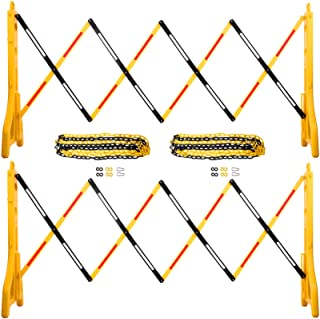 "VEVOR Expandable Mobile Barricade 8.3ft Width Plastic Barricade Water Filled Yellow Expandable Safety Barricades 38"" Heigh..."