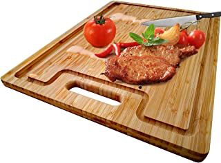 Large Organic Bamboo Cutting Board With Special Design Juice Grooves For Kitchen,Reversible Chopping Board With Handle For Meats Bread Fruits, Carving Board BPA Free (17x12.6