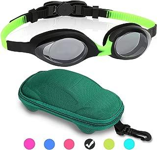 Kids Swim Goggles Swimming Goggles for Boys Girls Kid (Age 3-12) Child Colorful Swim Goggles Clear Vision Anti Fog UV Protection No Leak Soft Silicone Nose Bridge Protection Case Kids' Skoogles