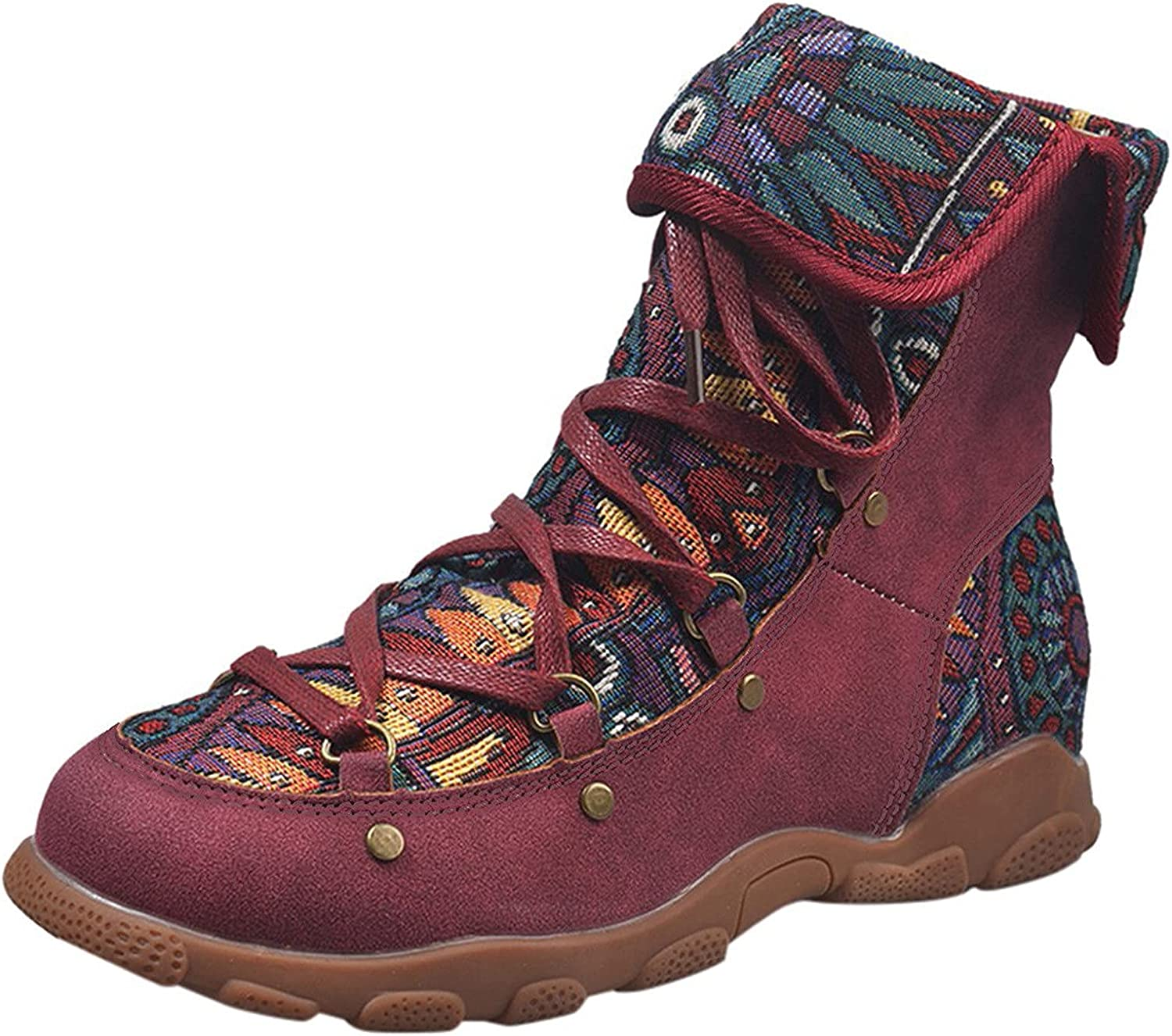 USYFAKGH Women's Fashion Printed Bohemian Lace-up Folk Style Flat Casual Ankle Boots
