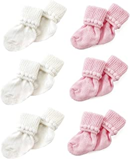 Pink & White Newborn Baby Socks by Nurses Choice - Includes 6 Pairs of Cotton Socks