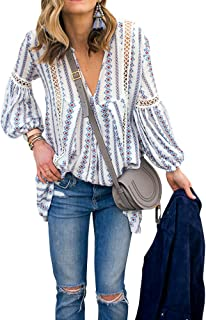 Women Long Sleeve V Neck Hollow Out Floral Print Shirt Tops Long Blouse Tee