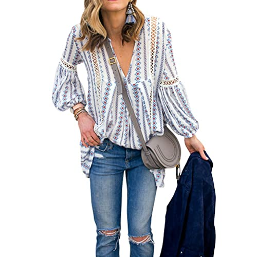680c35a0 ZXZY Women Long Sleeve V Neck Hollow Out Floral Print Shirt Tops Long Blouse  Tee