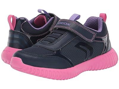 Geox Kids Jr Waviness 11 (Little Kid/Big Kid) (Navy/Pink) Girls Shoes