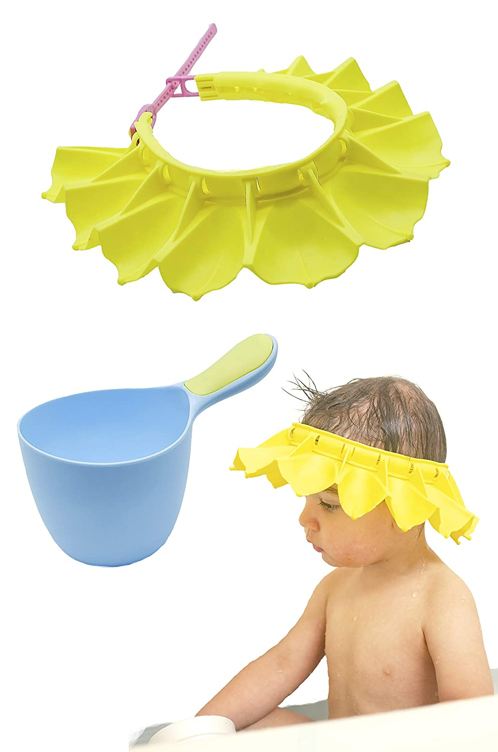 Silicone Baby Shower Cap with Baby Shampoo Rinse Cup Bath Set | Adjustable Bathing Hat, Stretchy, Bath Visor for Kids, Toddlers and Baby's | Safe and Soft (Yellow)