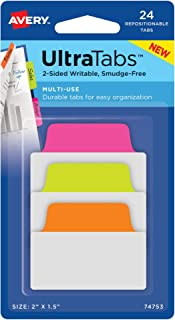 ألسنة Avery Multiuse Ultra Tabs، 5.08 سم × 3.81 سم، الكتابة على الجانبين، وردي نيون/أخضر/برتقالي، 24 عروة قابلة للتعديل (7...