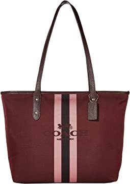 코치 토트백 COACH Horse and Carriage Jacquard City Tote,Oxblood/Gold