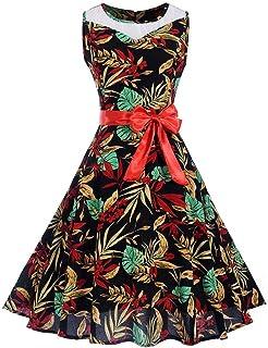 しあわせ宜蘭 ワンピースドレス レディース夏ゆったり上品女性ヴィンテージ1950年代レトロノースリーブOネックプリントパーティーウエディングスイングドレス