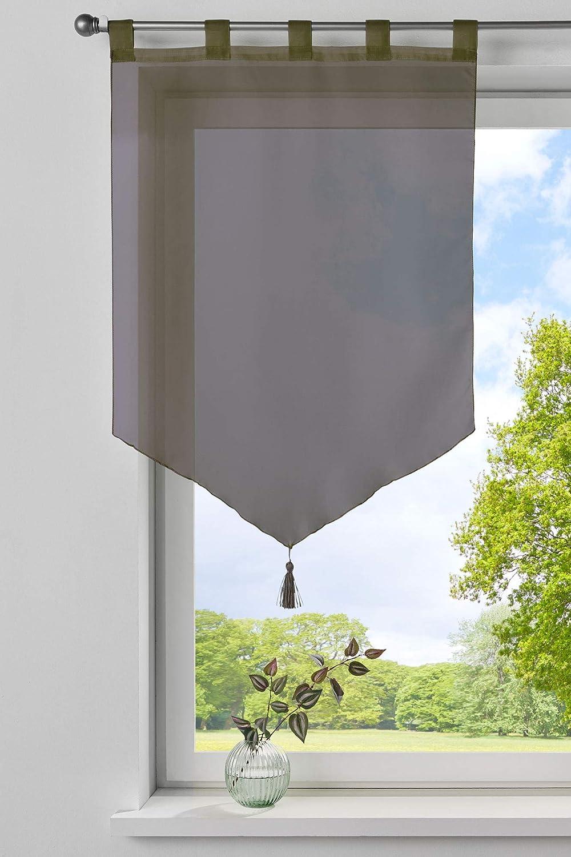 Scheibengardine »LYON« Voile Schlaufen Küche Quaste HxB 90x60 cm Weiß