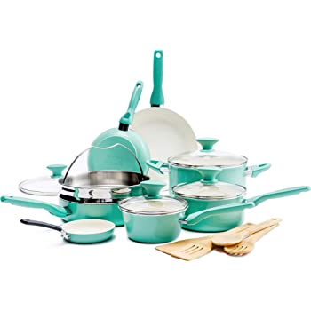 GreenPan Rio Healthy Ceramic Nonstick, Cookware Pots and Pans Set, 16-Piece, Turquoise
