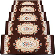 JIAJUAN Stair Carpet Treads Rectangular Thick Mute Self-Adhesive Rubber Backing Rugs Stair Treads Pads, 6 Styles, 5 Sizes,...