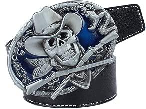 P Prettyia Cintura Fibbia Metallo Con Teschio Modello Testa Cranio Gotico Per Pantaloni Casual Uomo