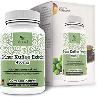 VITA1 Green Coffee Extract 450mg • 90 Capsules (1-Month-Supply) • 10:1 Extract with 18 Amino Acids, Potassium, Calcium, Ma...