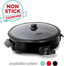 Dash DRG214BK Family Size Rapid Heat Electric Skillet + Hot Oven Cooker with with 14 inch Nonstick Surface + Recipe Book for Pizza, Burgers, Cookies, Fajitas, Breakfast & More, 20 Cup Capacity, Black