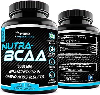 Nutra BCAA 2:1:1 3000 mg PreWorkout PostWorkout Supplement Pills, Amino Acids Supplements, Endurance, Recovery, Performanc...