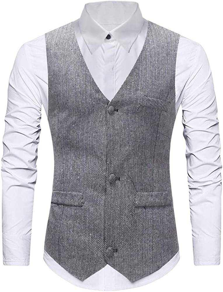 MODOQO Men's Business Suit Vest Casual Slim Fit Wedding Vests Skinny Dress Waistcoat
