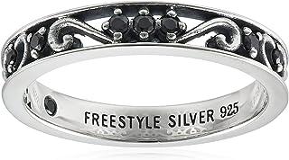 FREE STYLE 阿拉伯风格主题 氧化锆银戒指 黑色