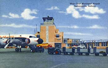 Indianapolis, Indiana - Weir Cook Municipal Airport Scene (24x36 Fine Art Giclee Gallery Print, Home Wall Decor Artwork Poster)