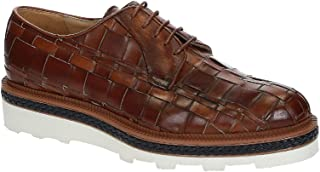 Leonardo Shoes Stringate Uomo in Pelle Intrecciata Color Cognac