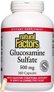 Natural Factors, Glucosamine Sulfate, Supports Healthy Joint Mobility, Cartilage and Connective Tissue, 360 capsules (360 servings)