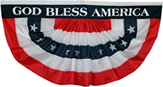 Veteran's Day Patriotic Bunting Banner - 3' x 6' Pleated Fan Flag, American Flag Decor, God Bless America, 4th of July Decorations, USA Red White Blue Outdoor Decor, Memorial Day, Election, Rally